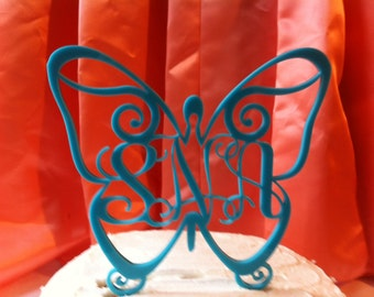 Monogram  Lettered Custom Butterfly Wedding Cake Topper MADE In USA…..Ships from USA