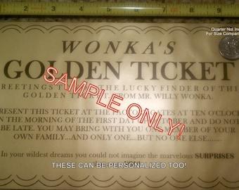 Gigantic Willy Wonka golden ticket - 10 x 6 - get them now