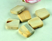 12pcs Unfinished Natural Wood Beads Trapezoid Shaped Beads Square - No Varnish & No Lacquer 25x25x7mm MT297