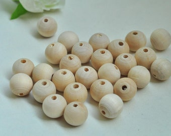 40pcs 12mm Natural Wood Beads Unfinished Spacer Beads Round Ball Bead - No Varnish & No Lacquer MT219