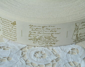 40mm(1 1/2'') x 5 Yards Sewing Trim Cotton Sewing Tape Label Cotton Ribbon Fabric Label - Letter Flower Girl Y149