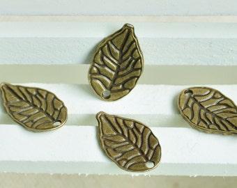 20pcs Antique Bronze Lovely Leaf Charms 18x11mm MM017