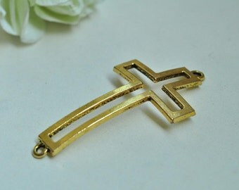 10pcs Curved Cross Connector Antique Gold Plated Large Curved Cross Charms Double Loops Charms Connector For Bracelets 54x28mm K574