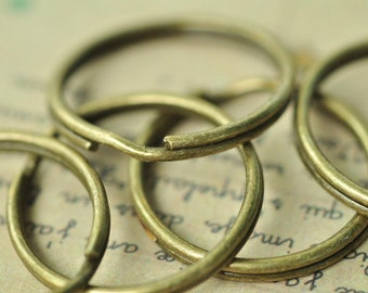 40pcs 25mm Antique Bronze Thick Split Key Ring Clasp Charms Double Loops 1.5mm MM789
