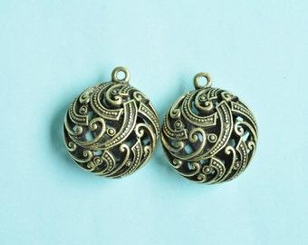 2pcs Antique Bronze 3D Oblate Ball Charms 26x26x16mm K212