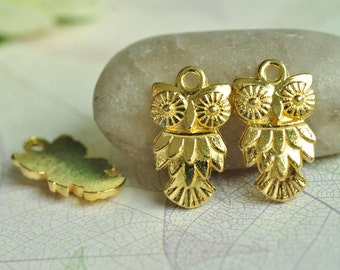 15pcs Gold Plated Owl Charms 20x11mm K544