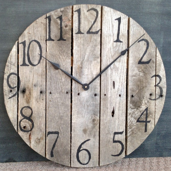 Large Rustic Pallet Wood Wall Clock by TickTockCreations ...
