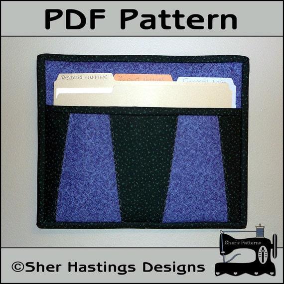 PDF Pattern for File Folder Pocket File Holder Wall Hanging