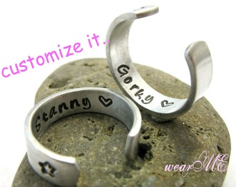 Personalized Rings Set.. Silver Custom Bands -  Couple Rings.. Set of two Adjustable - Hand Stamped Rings..YOu WiLL LOvE ThEm