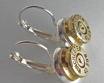 40 Smith & Wesson Winchester Brass Bullet Head Drop Earrings set Steampunk Bullet Jewelry