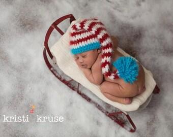 Newborn Baby Dr Suess Long Elf Pom Hat Crochet Photo Prop