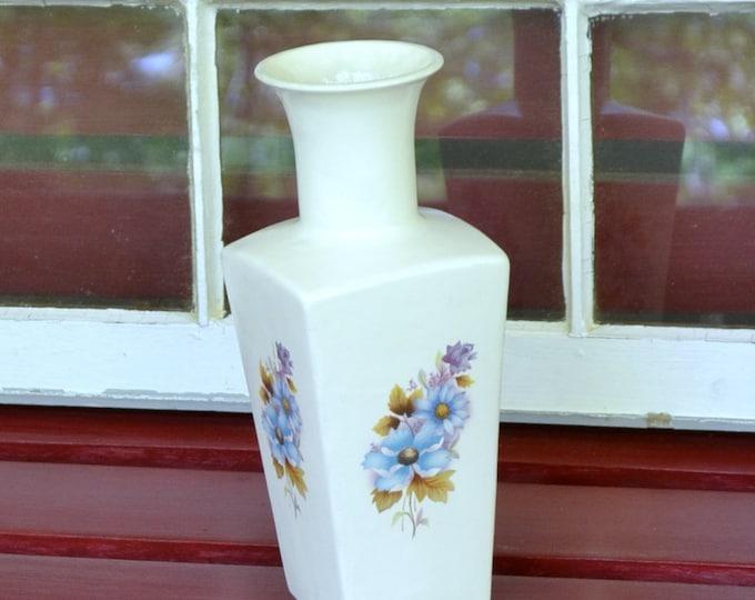 Vintage Ceramic Vase with Flowers Hand Made White Blue Purple panchosporch