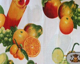"Polycotton Printed FRUIT JUICE Fabric / 60"" Wide / Sold by the Yard"