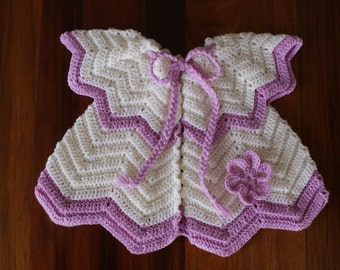 Girl's Cardigan. Off White and Mauve.
