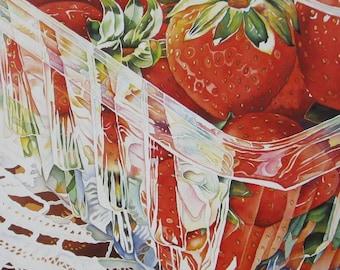 Strawberries - Strawberry Theme Print Strawberry Art