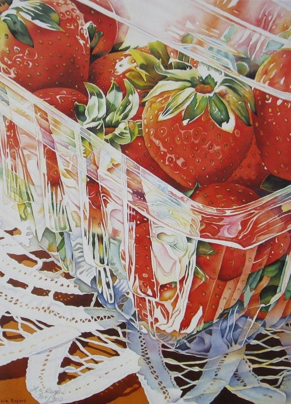 Strawberries strawberry theme print strawberry art - Strawberry themed kitchen decor ...