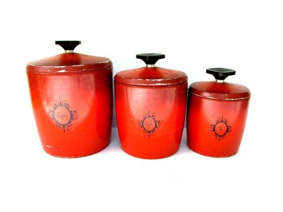Items similar to vintage canister set kitchen canister for Kitchen set orange