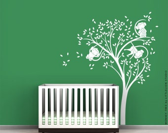 White Monkey Tree Wall Decal by LittleLion Studio