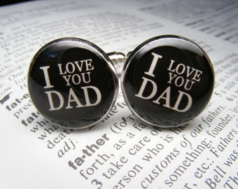 I love you Dad Cufflinks - These cuff links are a perfect gift for your father as a keepsake for a special occasion or for Father's Day.
