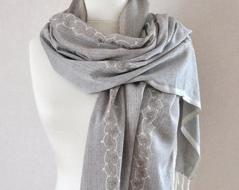 Gray handwoven shawl - Pure soft organic silk handwoven scarf - embroidered leaves light brown grey scarf