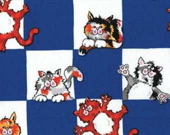 SUPER CLEARANCE! One Yard Alley Cat - Check This Out Royal - Cotton Quilt Fabric - by Kanvas - Benartex (W143)