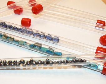 4 Clear Plastic Tube Containers, Bead Containers, Storage Tubes, Supplies, Tube Set, Organize Containers, Destash (S378)