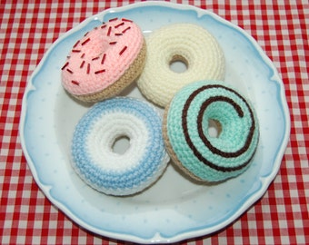 Crochet Pattern for Iced Ring Donuts / Cakes - Crochet Food, Play Food, Toy Food