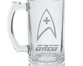 Star Trek Personalized Mug - Star Trek Health Badge Mug - Custom Etched Star Trek Beer Mug