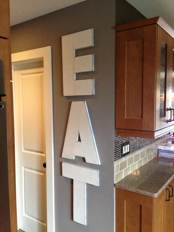 Eat large rustic wood wall art 22 letters painted and for Kitchen letters decoration