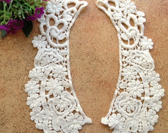 Vintage Cotton lace Collar Appliques Beige Floral Embroidered Collars