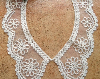 Beige Embroidery Tulle Lace Collar Necklace Dress Appliques 1 Pair