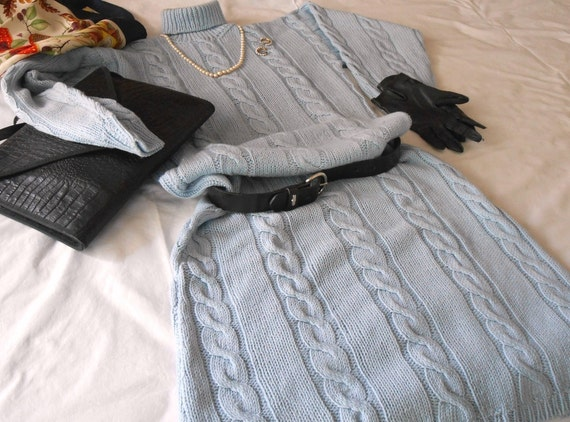 Conosciuto Abiti a maglia vestito fatto a mano azzurro abiti maglione SO82