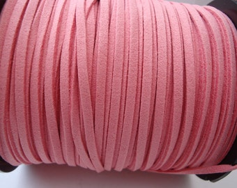3m pink faux suede cord 3mm wide jewellery stringing 3 metres