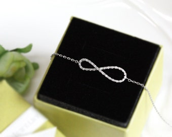 Bridesmaid gifts - Set of 4,5,6 - Infinity bracelet with crystal