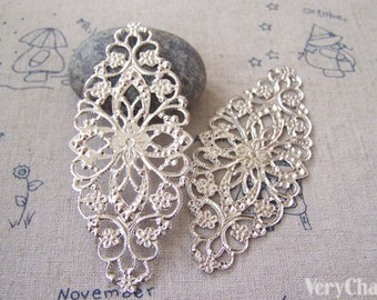 20 pcs of Silvery Gray Color Filigree Flower Embellishments 35x80mm A5087