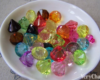 30 pcs Acrylic Faceted Diamond Beads 12x12mm Mixed Color A4535
