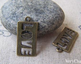 20 pcs of Antique Bronze Filigree Rectangular LOVE Charms 11x22mm A1845