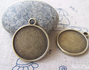 10 pcs of Antique Bronze Round  Base Settings Pendant Double Sided Match 21mm Cabochon A2434