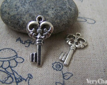 20 pcs Antique Silver Filigree Key Charms 12x23mm A2946