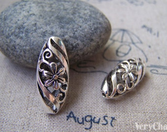 6 pcs of Antique Silver  Filigree Flower Oval Connector Beads 10x23mm A1084