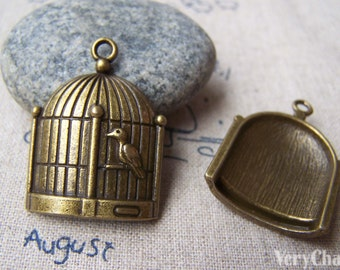 10 pcs of Antique Bronze Bird Cage Pendants Charms 23x31mm A157