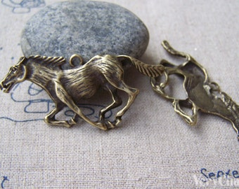 6 pcs of Antique Bronze Running Horse Charms 22x50mm A631