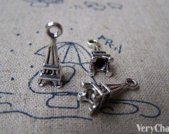 20 pcs Antique Silver Small Eiffel Tower Charms Pendants 6x15mm A1654