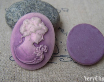 4 pcs Resin Victorian Purple Lady Oval Cameo Cabochon 30x40mm A4027
