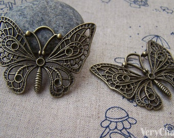10 pcs of Antique Bronze Filigree Butterfly Pendants 35x48mm A736