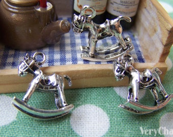 SALE Antique Silver Small Rocking Horse Charms 16x17mm Set of 10 A1227