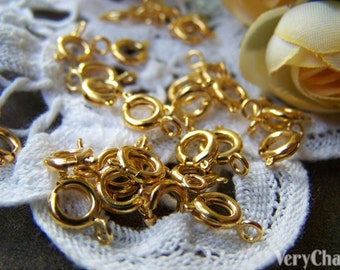 50 pcs of Gold Tone Brass Spring Ring Clasps 6mm A3496