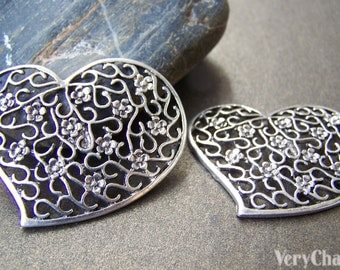 Swirly Heart Pendants Antique Silver Filigree Charms 40x43mm Set of 10 A4474