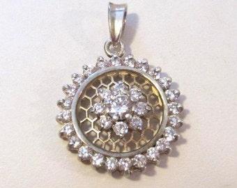 Vintage Sterling silver CZ pendant