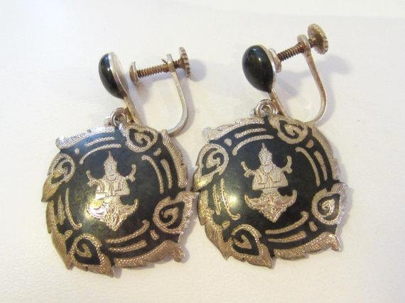 Antique vintage sterling silver Signed Sykha Siam  screw back earrings